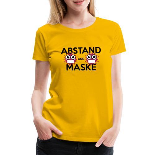 Mit Abstand und Maske gegen CORONA Virus - schwarz - Frauen Premium T-Shirt