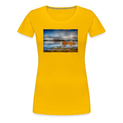 yellow boat on the sea over blue sky - Women's Premium T-Shirt