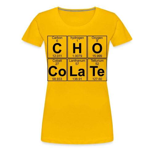 C-H-O-Co-La-Te (chocolate) - Full - Women's Premium T-Shirt