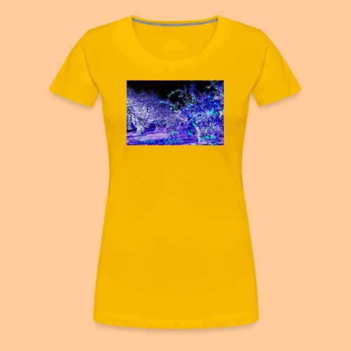 Neon Apples/purple cyan blue - Premium T-skjorte for kvinner