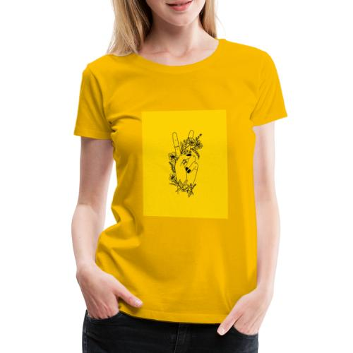 Yellow Peace Symbol Art - Women's Premium T-Shirt