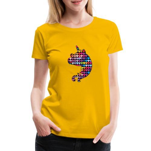 Enhörning med hjärtan mönster söt hjärta häst - Premium-T-shirt dam