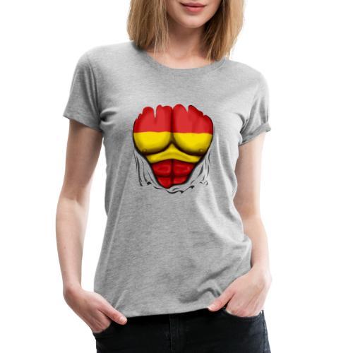 España Flag Ripped Muscles six pack chest t-shirt - Women's Premium T-Shirt