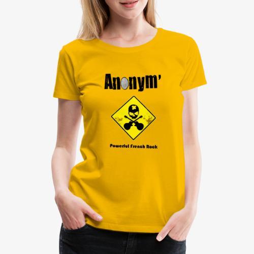 Logo Anonym' noir avec panneau jaune - T-shirt Premium Femme