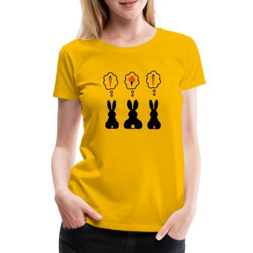 Hasen Denkblase Möhre Karotte Eis Häschen - Frauen Premium T-Shirt