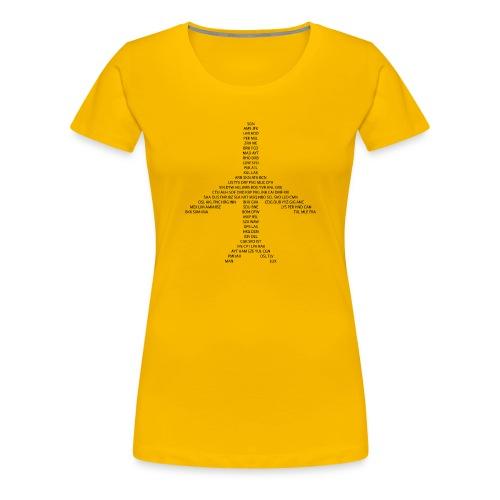 IATA-koodit lentokone - musta - Naisten premium t-paita