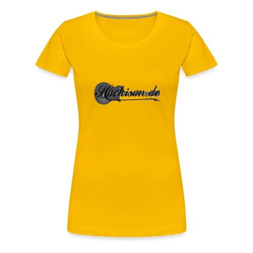 Tasse - schwarz - Hackisan-Logo vorne u. hinten - Frauen Premium T-Shirt