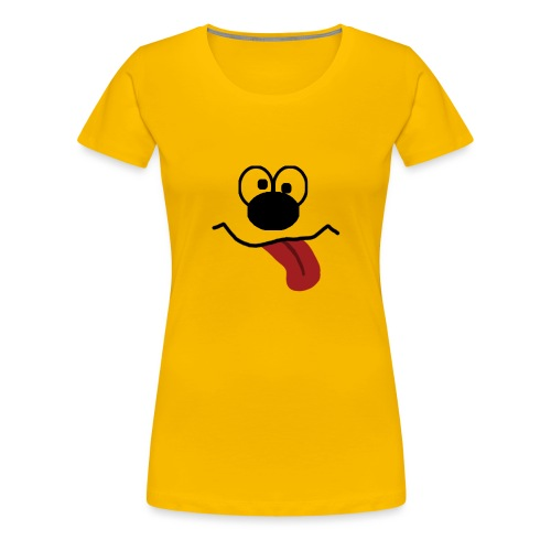 Funny Cartoon Face drunk tongue sticking out - Premium T-skjorte for kvinner