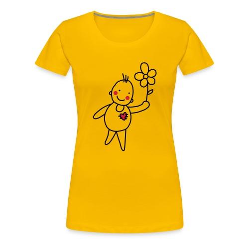 Strichmännchen Blume Herz Kinderzeichnung Graffiti - Women's Premium T-Shirt