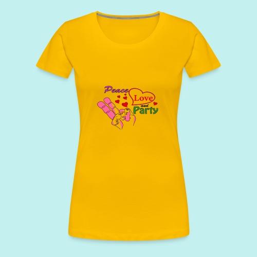 Peace, Love and Party - Retro Design - Frauen Premium T-Shirt
