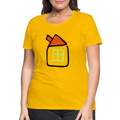 House Line Drawing Pixellamb - Frauen Premium T-Shirt