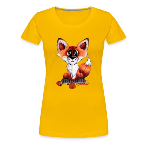 llwynogyn - a little red fox - Dame premium T-shirt
