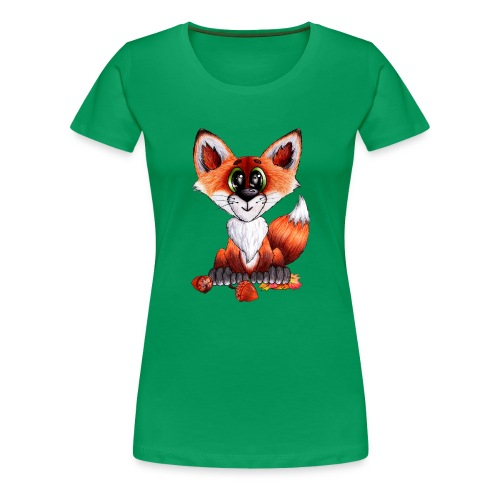llwynogyn - a little red fox - Naisten premium t-paita