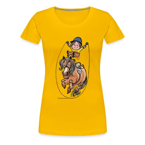 Thelwell Funny Rope Jumping Horse And Rider - Women's Premium T-Shirt