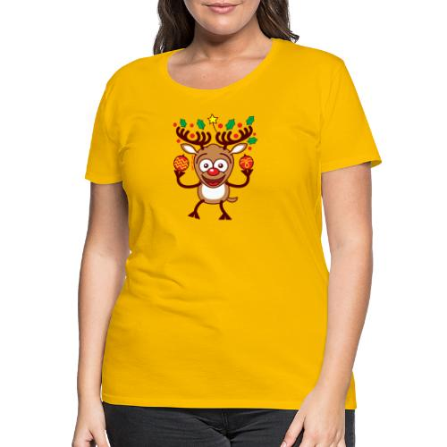 Cool Reindeer Decorating for Christmas - Women's Premium T-Shirt