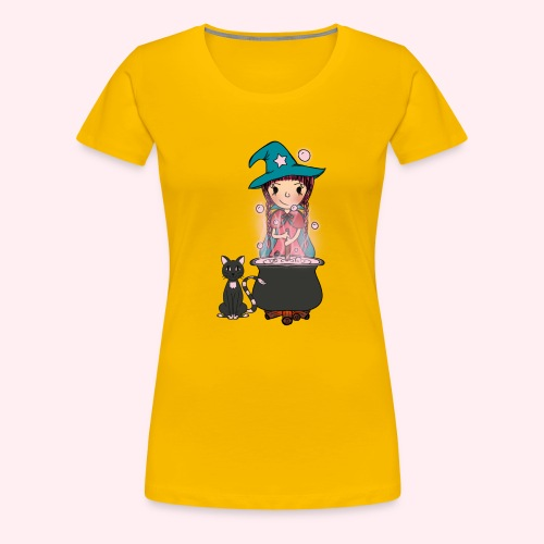 Witch Penelope and cat - Frauen Premium T-Shirt