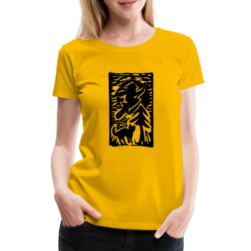 Hexe mit Katze - Frauen Premium T-Shirt