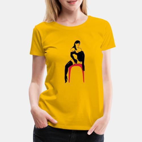 girl masterbate 2 color - Frauen Premium T-Shirt