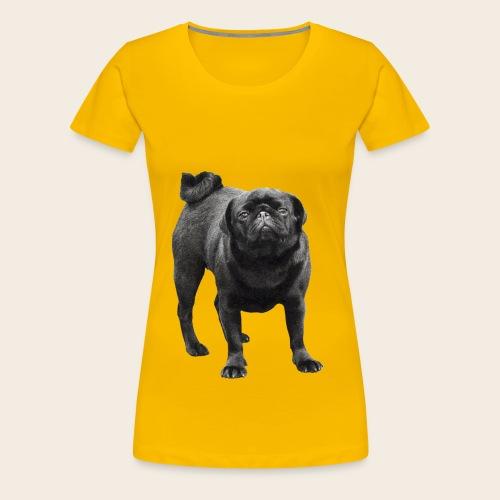 schwarzer Mops - Frauen Premium T-Shirt