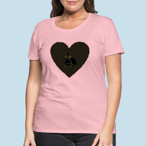 Katzen Herz Spirale 2 Färbig - Frauen Premium T-Shirt
