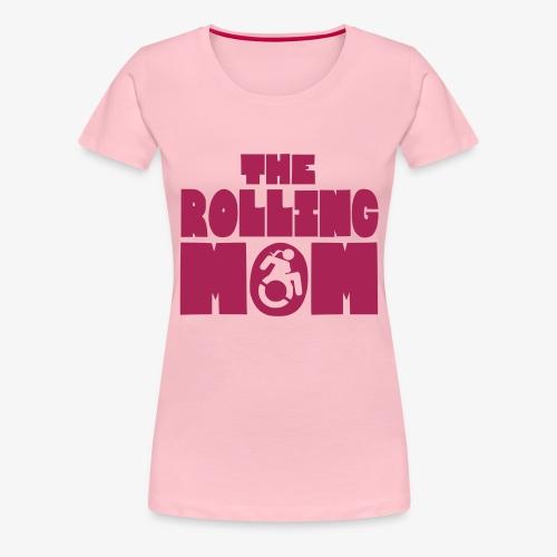 Rollende moeder in een rolstoel - Vrouwen Premium T-shirt