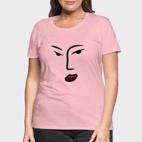 Frau Line Art Abstrakte Kunst - Frauen Premium T-Shirt