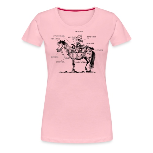 Thelwell Cartoon Bescheribung Westernpferd - Frauen Premium T-Shirt