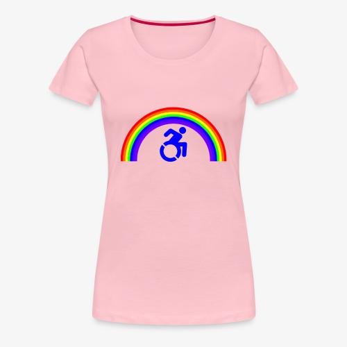 > Trotse rolstoel gebruiker met regenboog, lgbt - Vrouwen Premium T-shirt