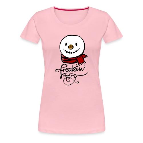 Freaking merry Schneemann roter Schal Weihnachten - Frauen Premium T-Shirt
