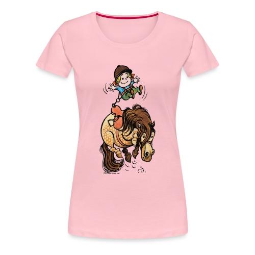 Thelwell Reiter Mit Gurt Und Buckelndes Pony - Frauen Premium T-Shirt