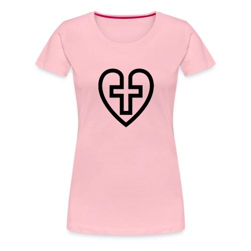 Symboliskt kristet kors i ett hjärta - Premium-T-shirt dam