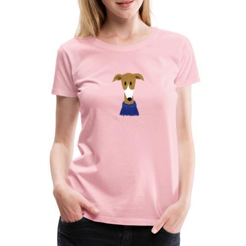 Windhund in blauem Pulli - Frauen Premium T-Shirt