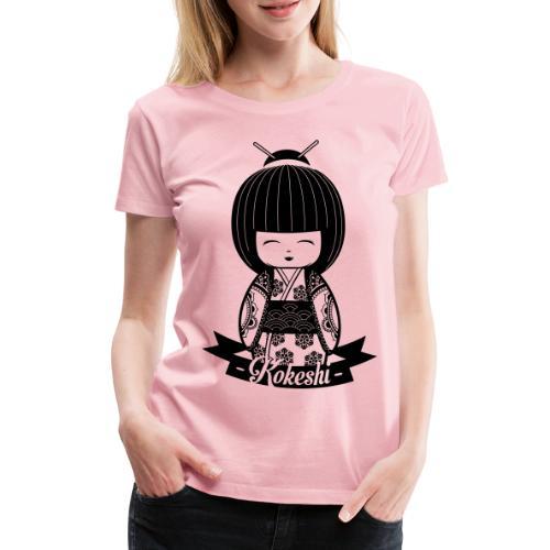 Kokeshi Black - Maglietta Premium da donna