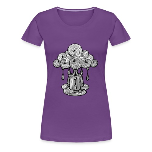 nuage lundi pluie, le lundi c'est nul... - T-shirt Premium Femme