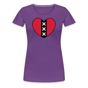 Hart met het symbool van de stad Amsterdam - Vrouwen Premium T-shirt