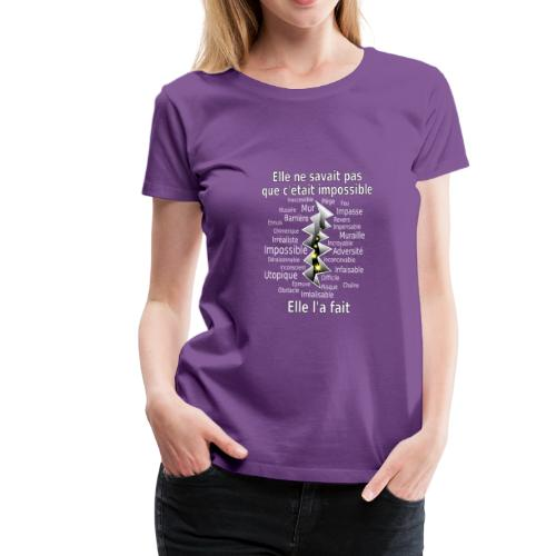 Impossible et fait Femme brèche Fond Sombre - T-shirt Premium Femme