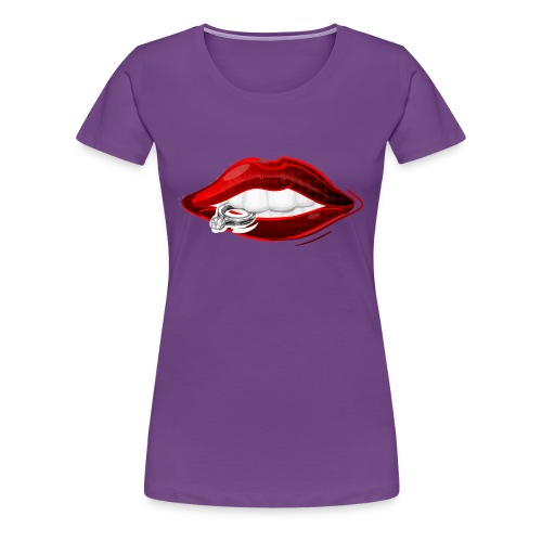 Lips with diamond ring - Vrouwen Premium T-shirt