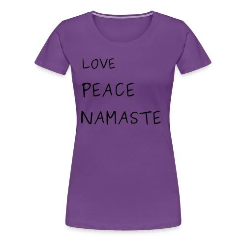 LOVE PEACE NAMASTE BUDDHA T-SHIRT - Frauen Premium T-Shirt