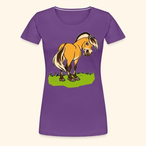 Freundliches Fjordpferd (Ohne Text) Weisse Umrisse - T-shirt Premium Femme