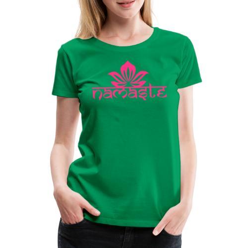 Namaste Lotus Yoga Motiv in Trendfarben MEGA - Frauen Premium T-Shirt