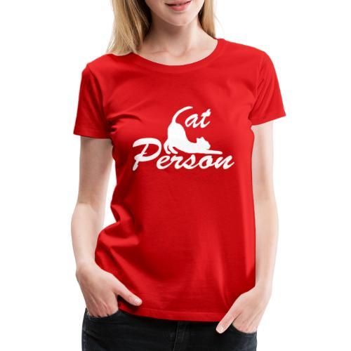 cat person - weiss auf schwarz - Frauen Premium T-Shirt