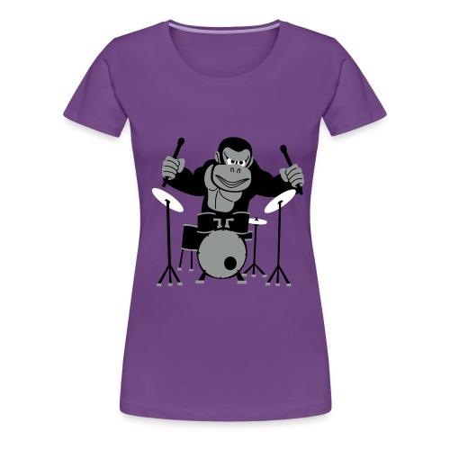 Drumming Gorilla - Women's Premium T-Shirt