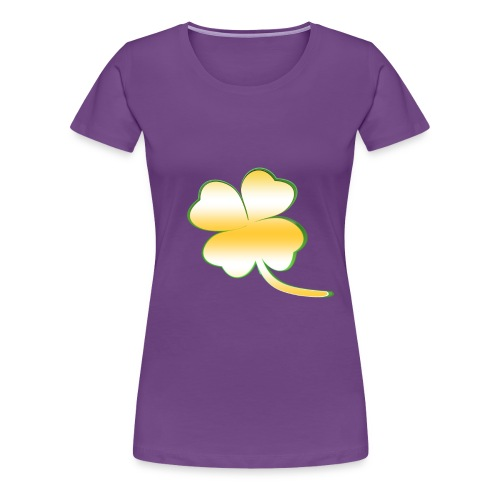 Kleeblatt Glück gold - Frauen Premium T-Shirt