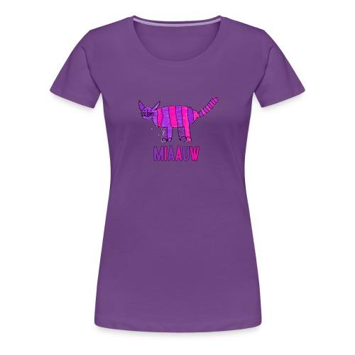 miaauw, paarse poes - Vrouwen Premium T-shirt