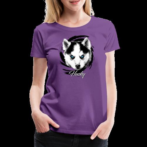 10-48 HUSKY BLUE EYES - DOG TEXTILES GIFTS WEBSHOP - Naisten premium t-paita