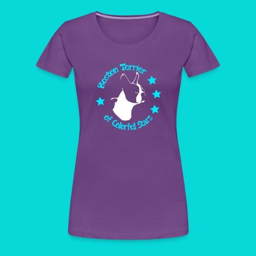 Boston Terrier of Colorful Stars Logo Türkis - Frauen Premium T-Shirt