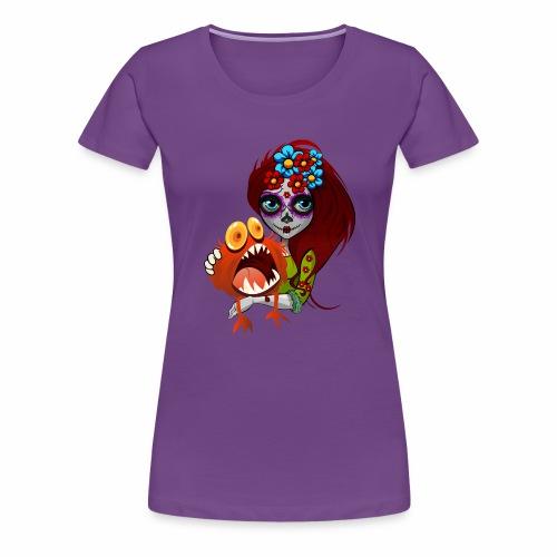 Catrina con Monstruo - Camiseta premium mujer