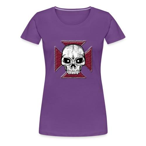 20-07 Iron Cross Skull, pääkallo tekstiilit ym. - Naisten premium t-paita