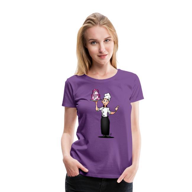 Konditor mit einem rosa glasierten Kuchen - Frauen Premium T-Shirt