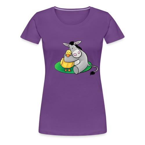 Kuschelesel mit Ente - Frauen Premium T-Shirt
